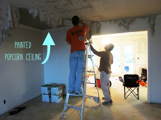 painted popcorn ceiling